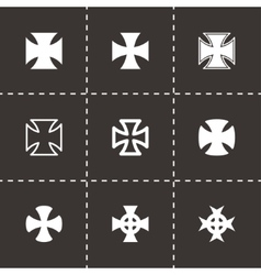 black choppers crosses icon set vector image