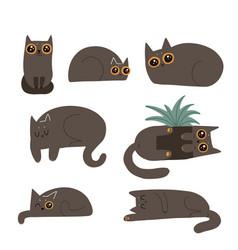 Black fluffy cats set cute cartoon funny lying vector