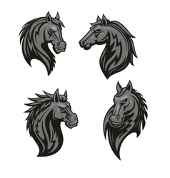 Black horse head mascot with tribal ornament vector