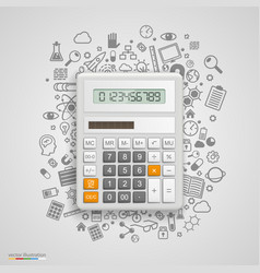 calculator with icons on background vector image