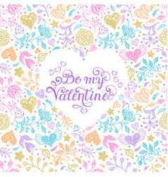 Card with hand drawn flowers and hearts vector