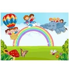 Cartoon little kid on the rainbow vector