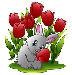cartoon rabbits with flowers on a white background vector image