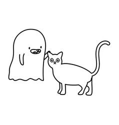cat and ghosts trick or treat happy halloween vector image