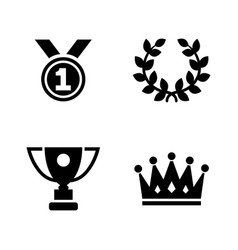 champions trophy simple related icons vector image