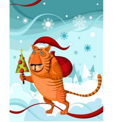 christmas tiger vector image vector image