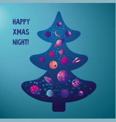 christmas tree with space stars and planet inside vector image