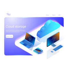 Cloud data storage concept isometric web page vector