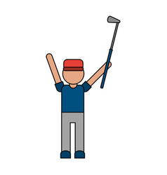 Color image cartoon faceless full body golfer man vector