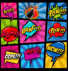 comic page mockup with color background pop art vector image