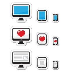 Computer screen tablet and smartphone icons vector