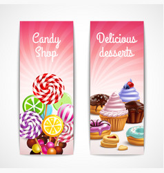 Confectionery vertical banners set vector