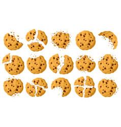 Cookies with crumbs cartoon set icon vector
