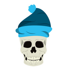 cool skull with winter hat cartoon isolated vector image