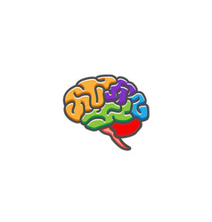 creative colorful brain logo vector image