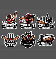 Cricket logo and badge set image vector