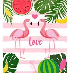 Cute flamingo love background vector