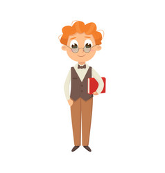 Cute intelligent boy in elegant clothes standing vector