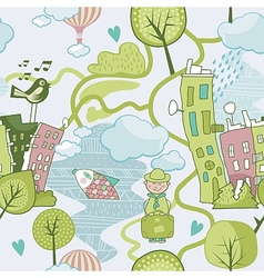 Cute Landscape Pattern vector image