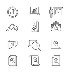 Data analysis line icons set black editable vector