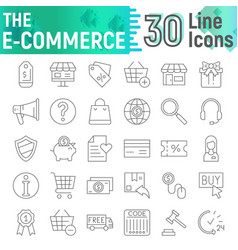 e-commerce thin line icon set shopping symbols vector image