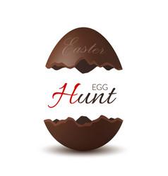 Easter broken egg 3d egg hunt text chocolate vector