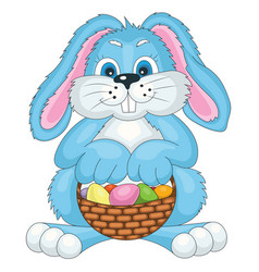 easter bunny with bast basket vector image