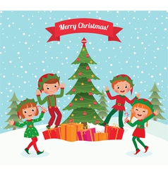 Elves and christmas tree vector
