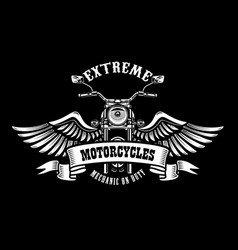 emblem template with winged motorcycle design vector image