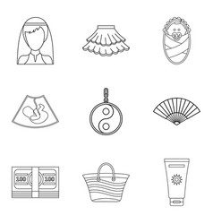 Female pleasure icons set outline style vector