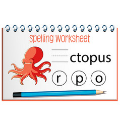 find missing letter with octopus vector image