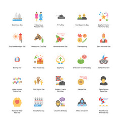 flat icons set holidays vector image