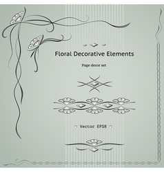 floral decoration elements vector image