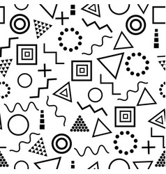 geometric seamless pattern memphis style on white vector image