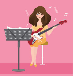 Girl playing guitar composing musical chord with vector
