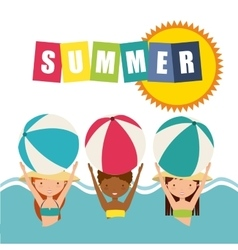 Girls and ball icon Summer and vacation design vector