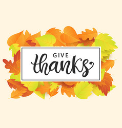Give thanks thanksgiving day poster template vector