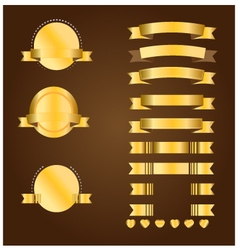 Gold banner and ribbon vector image