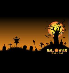 halloween graveyard background vector image