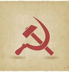 Hammer and sickle symbol old background vector