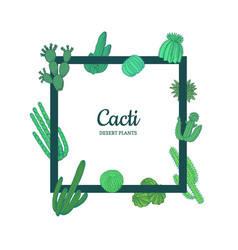 hand drawn desert cacti plants frame banner vector image