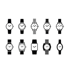 Hand watch time indication clock face vector