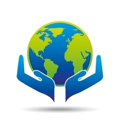 Hands holding globe concept ecology icon vector