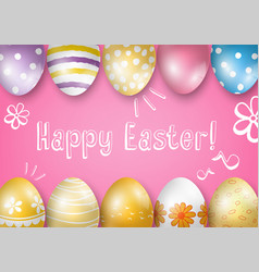 happy easter greeting card on a pink background vector image vector image