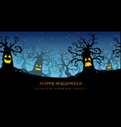 Happy halloween seamless haunted forest vector