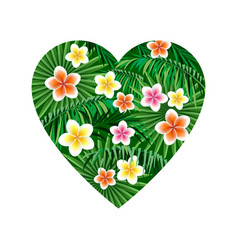 heart jungle logo to print t-shirts palm leaves vector image