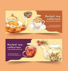 Herbal tea banner design with chamomile cup tea vector