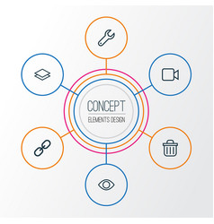 Interface outline icons set collection of layer vector