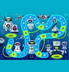 Kids boardgame with robots and droids characters vector