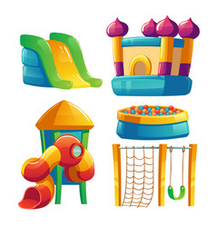 Kids playground with trampoline and slide vector
